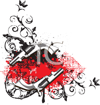 Royalty Free Clipart Image of a Grunge Vignette With Guns