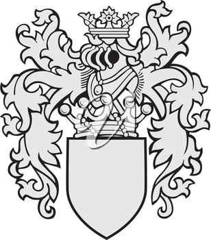 Vector image of medieval coat of arms, executed in woodcut style, isolated on white background. No blends, gradients and strokes.