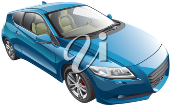 Detail image of blue modern sport car, isolated on white background.