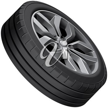 High quality vector illustration of light alloy wheel, isolated on white background. File contains gradients, blends and transparency. No strokes. Easily edit: file is divided into logical groups.