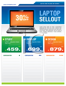 Royalty Free Clipart Image of a Laptop Sale Brochure