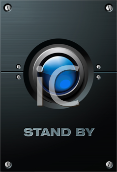 Royalty Free Clipart Image of a Blue Button on the Brushed Metal