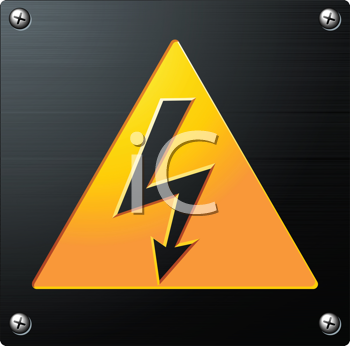 Royalty Free Clipart Image of a High Voltage Sign on a Metal Plate
