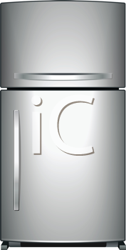 Royalty Free Clipart Image of a Metallic Refrigerator