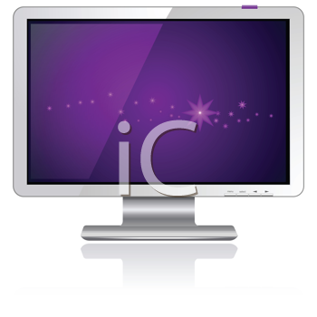 Royalty Free Clipart Image of a Flat Computer LCD Plasma Monitor