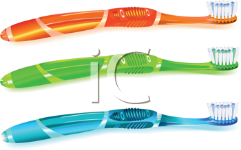 Royalty Free Clipart Image of Colorful Toothbrushes