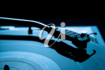 Royalty Free Photo of a Vinyl Record on a Turntable