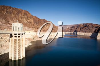 Royalty Free Photo of the Colorado River and Hoover Dam