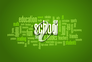 School Word Cloud Bubble Tag Tree on green background Vector