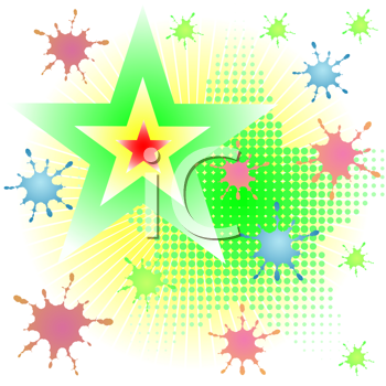Royalty Free Clipart Image of a Star and Spatter Background