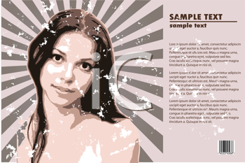 Royalty Free Clipart Image of a Girl on a Grungy Background