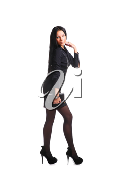 Fashion woman in a black dress isolated over white
