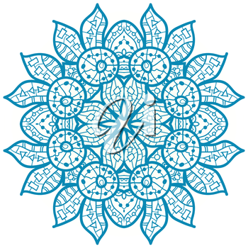 Oriental Blue mandala motif round lase pattern on the white background, like snowflake or mehndi paint