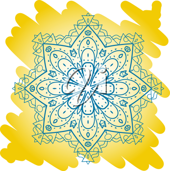 Oriental mandala motif round lase pattern on the yellow background, like snowflake or mehndi paint bright color. Ethnic backgrounds concept