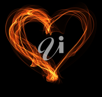 Royalty Free Clipart Image of a Heart in Fire