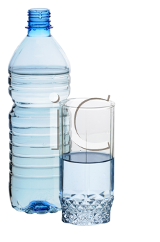 Water in a plastic bottle and a glass isolated on white background