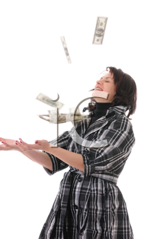 Royalty Free Photo of a Woman Catching Money
