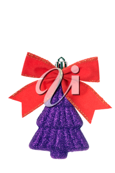 iilac christmas decoration with red bow  isolated on white background