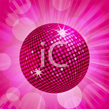 Royalty Free Clipart Image of a Sparkly Pink Disco Ball