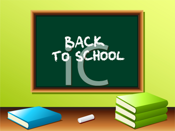 Royalty Free Clipart Image of a Blackboard With Textbooks