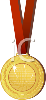 Royalty Free Clipart Image of a Gold Metal With a Basketball on It