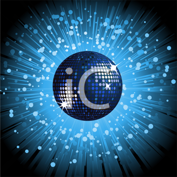 Royalty Free Clipart Image of a Blue Disco Ball With an Explosion of Rays