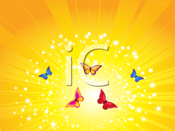 Royalty Free Clipart Image of a Colorful Butterfly Background