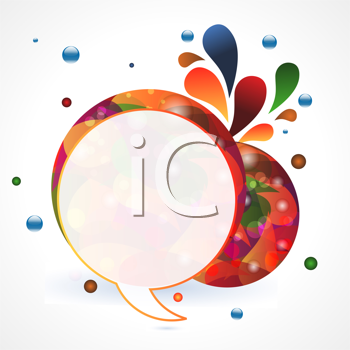 Royalty Free Clipart Image of Colourful Abstract Circular Speech Bubble