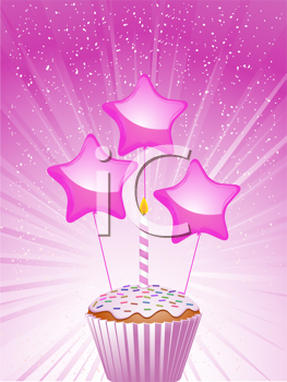 Royalty Free Clipart Image of a Pink Cupcake and Candle With Balloons