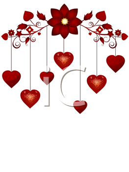 Royalty Free Clipart Image of a Red Valentine Hearts Dangling From a Flora Border