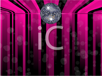 Royalty Free Clipart Image of a Sparkling Disco Ball on a Black and Pink Striped Background