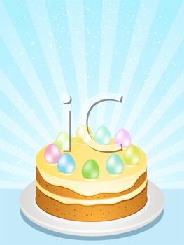 Royalty Free Clipart Image of an Easter Cake With Eggs on Top