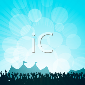 Royalty Free Clipart Image of a Crowd Partying in Front of Tents