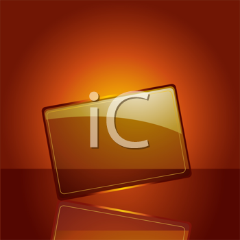 Royalty Free Clipart Image of an Plaque Reflected on a Golden Background