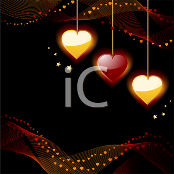 Royalty Free Clipart Image of Gold and Red Hearts on a Background