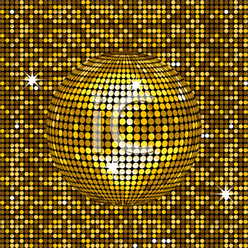 Royalty Free Clipart Image of a Gold Disco Ball on a Mosaic Background