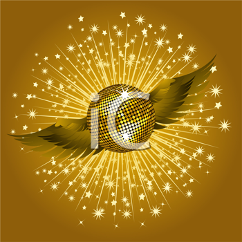 Royalty Free Clipart Image of a Winged Gold Disco Ball With an Explosion of Rays