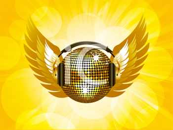 Royalty Free Clipart Image of a Winged Gold Disco Ball With Headphones
