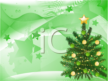 Royalty Free Clipart Image of a Decorated Christmas Tree on a Blended Star Background