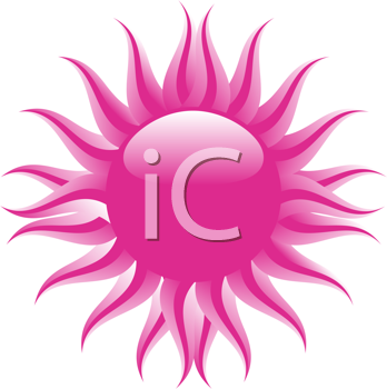 Royalty Free Clipart Image of an Abstract Pink Sun