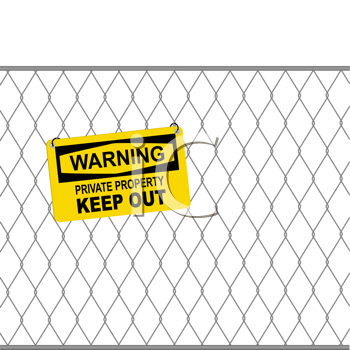 Royalty Free Clipart Image of a Keep Out Sign on a Fence