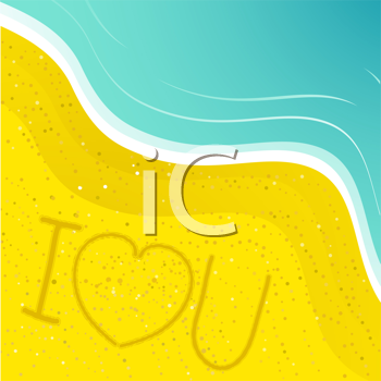 Royalty Free Clipart Image of I Love You Written in Sand on a Beach