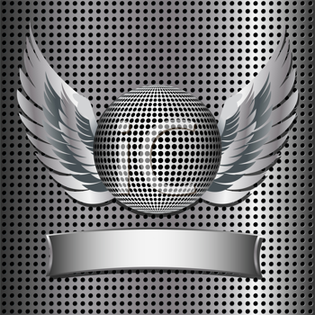 Royalty Free Clipart Image of a Metallic Disco Ball on a Metal Grid