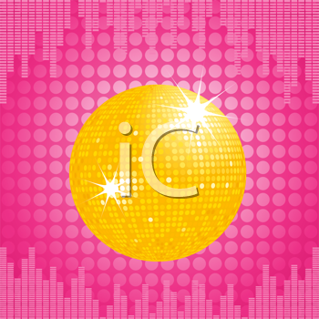 Royalty Free Clipart Image of a Sparkling Orange Disco Ball on a Background With an Equalizer