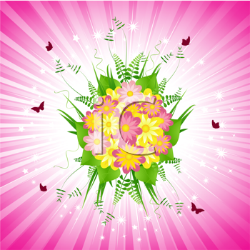 Royalty Free Clipart Image of a Floral Bouquet Background