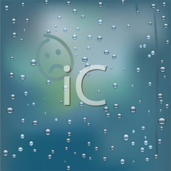 Royalty Free Clipart Image of a Rainy Window With Droplets and a Frowning Face