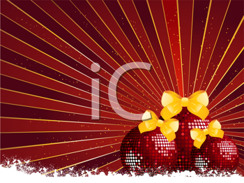 Royalty Free Clipart Image of Sparkling Red Christmas Baubles With Yellow Ribbons