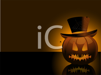 Royalty Free Clipart Image of a Pumpkin With a Top Hat and Spiders