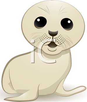Royalty Free Clipart Image of a Cute Seal Pup