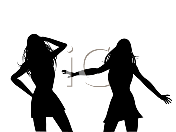 Royalty Free Clipart Image of Silhouettes of Female Dancers